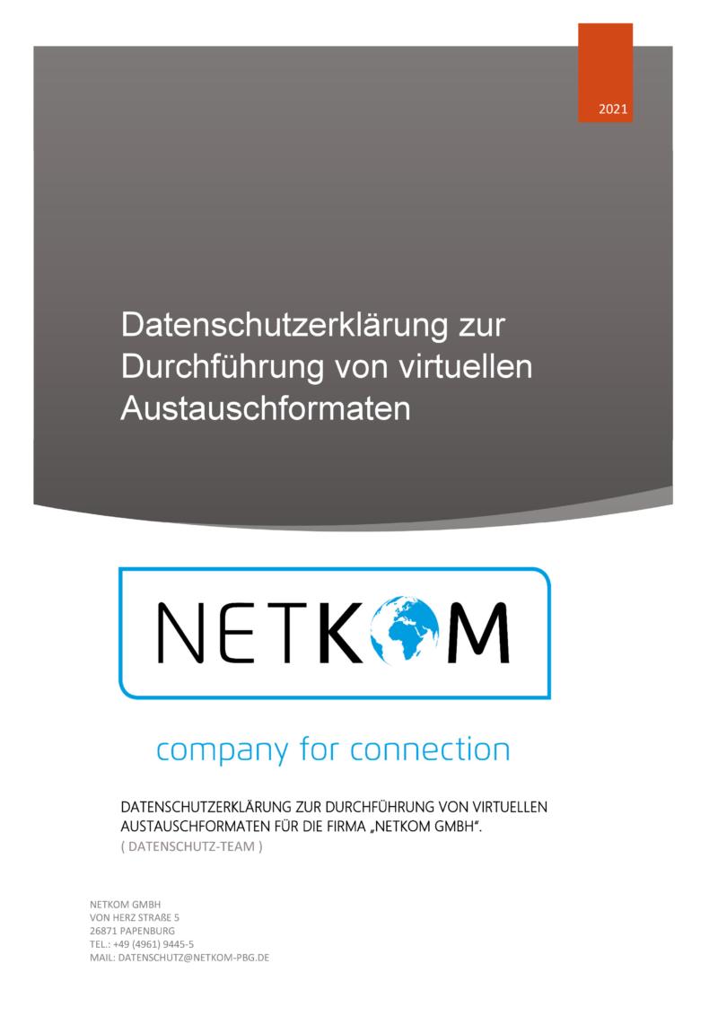 Datenschutzerklärung zur Durchführung von virtuellen Austauschformaten - Netkom GmbH-001