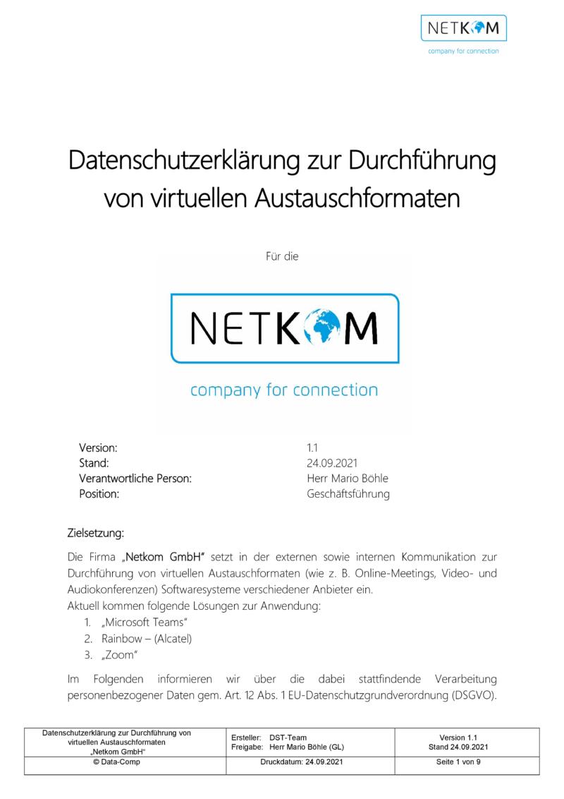 Datenschutzerklärung zur Durchführung von virtuellen Austauschformaten - Netkom GmbH-002