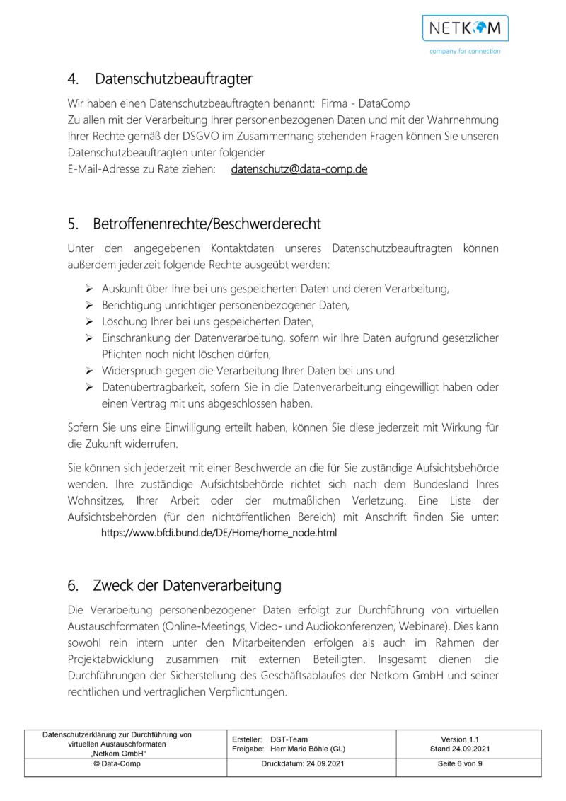 Datenschutzerklärung zur Durchführung von virtuellen Austauschformaten - Netkom GmbH-007