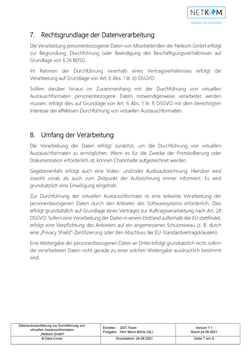 Datenschutzerklärung zur Durchführung von virtuellen Austauschformaten - Netkom GmbH-008