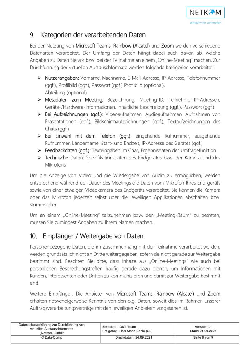 Datenschutzerklärung zur Durchführung von virtuellen Austauschformaten - Netkom GmbH-009