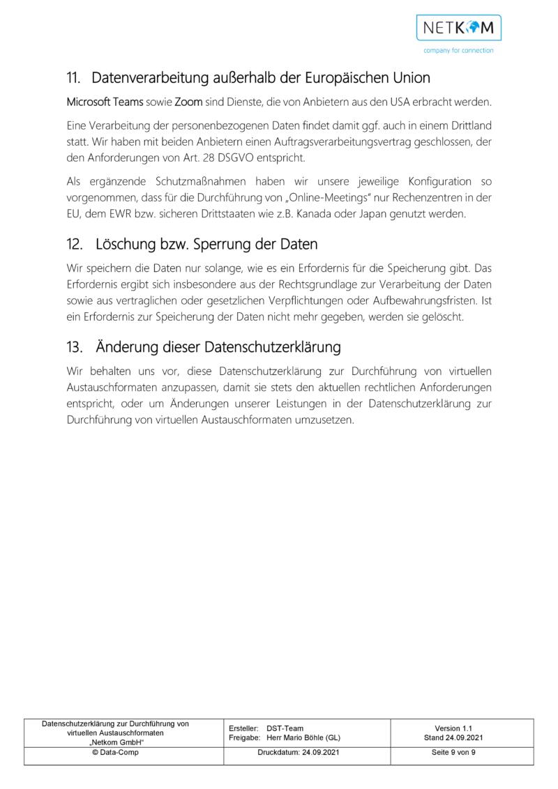 Datenschutzerklärung zur Durchführung von virtuellen Austauschformaten - Netkom GmbH-010